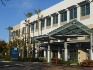 The entrance to the modern 520 Superior building at Hoag Helath Center, Newport Beach - home to OC Vascular Specialists